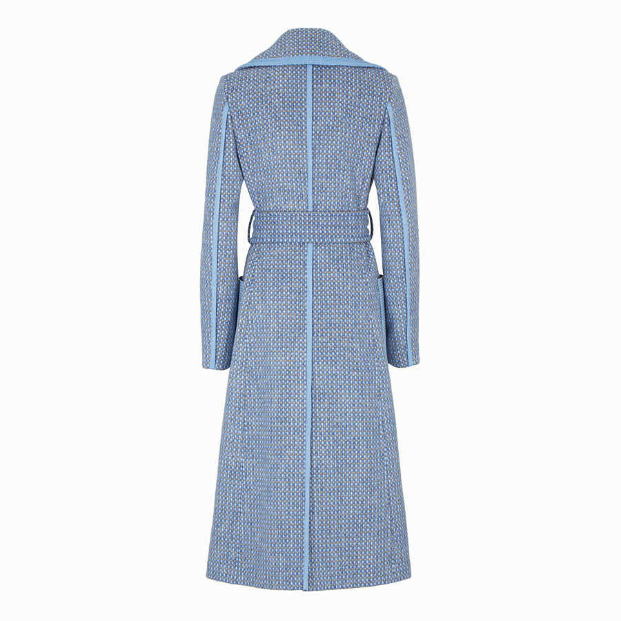 FENDI OVERCOAT - Pale blue wool trench coat - view 2 detail