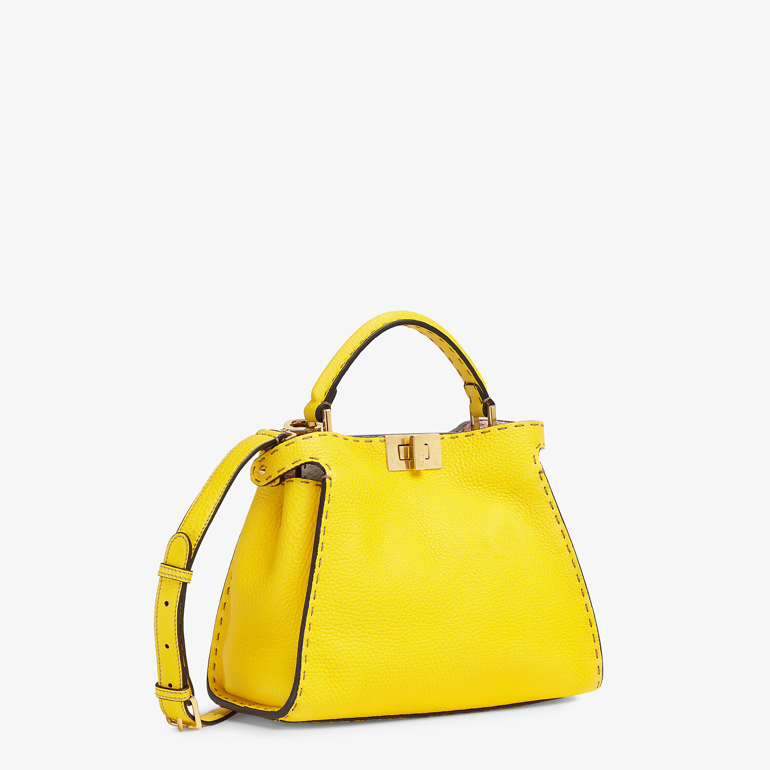 FENDI PEEKABOO ICONIC ESSENTIALLY - Yellow Cuoio Romano leather bag - view 3 detail