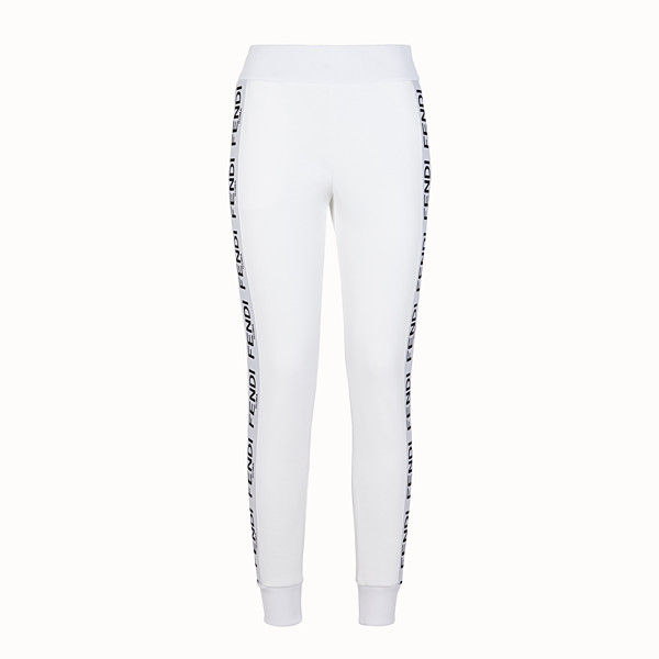 FENDI TROUSERS - White fabric jogging trousers - view 1 small thumbnail