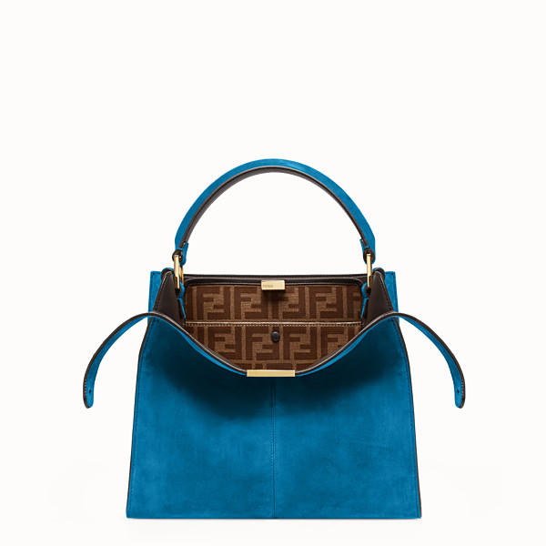 FENDI PEEKABOO X-LITE MEDIUM - Blue suede bag - view 1 small thumbnail
