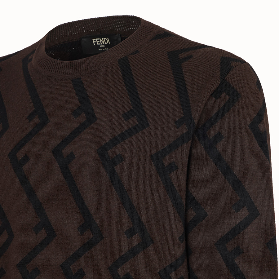 FENDI PULLOVER - Brown wool jumper - view 3 detail