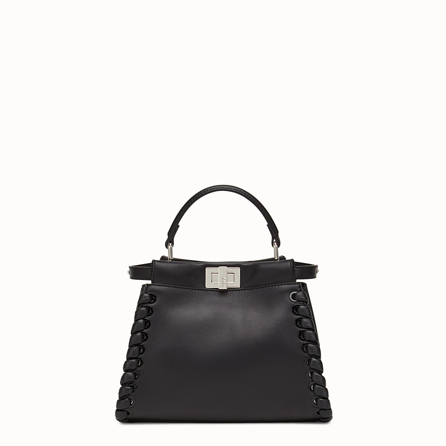 FENDI PEEKABOO MINI - black nappa handbag with weave - view 1 detail