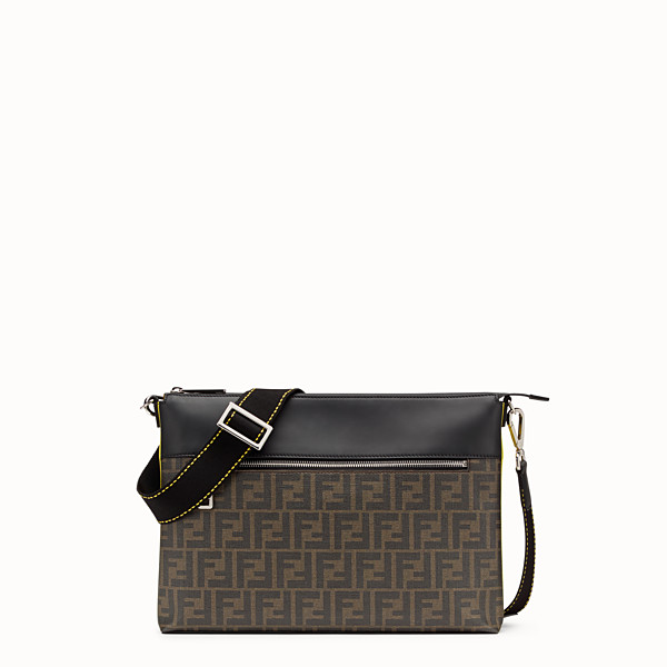 FENDI MESSENGER - Brown fabric slim pouch - view 1 small thumbnail