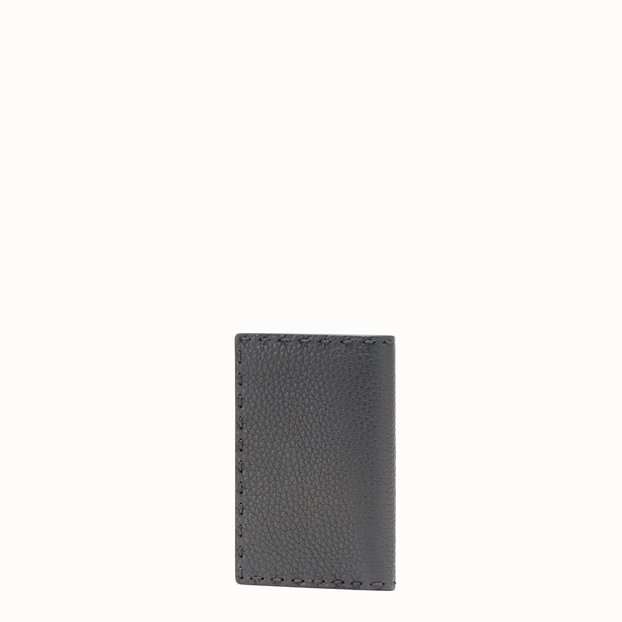 FENDI CARD HOLDER - Grey Romano leather card holder - view 2 detail
