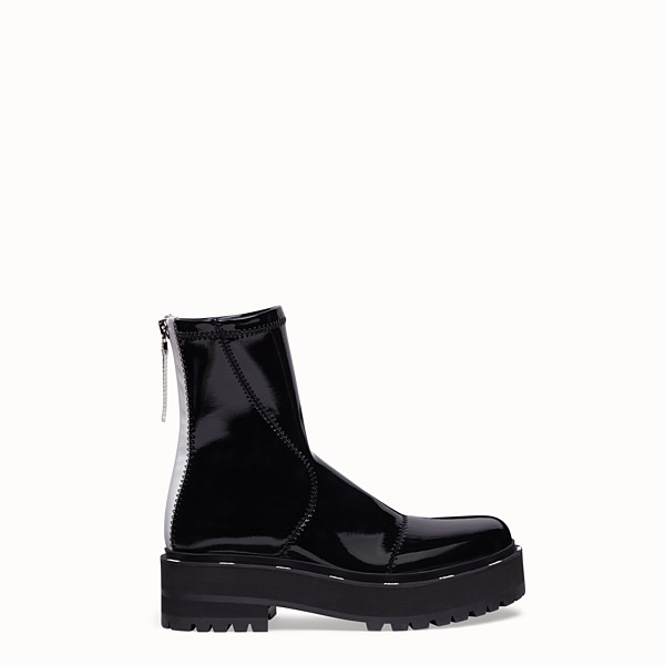 FENDI ANKLE BOOTS - Glossy black neoprene biker boots - view 1 small thumbnail