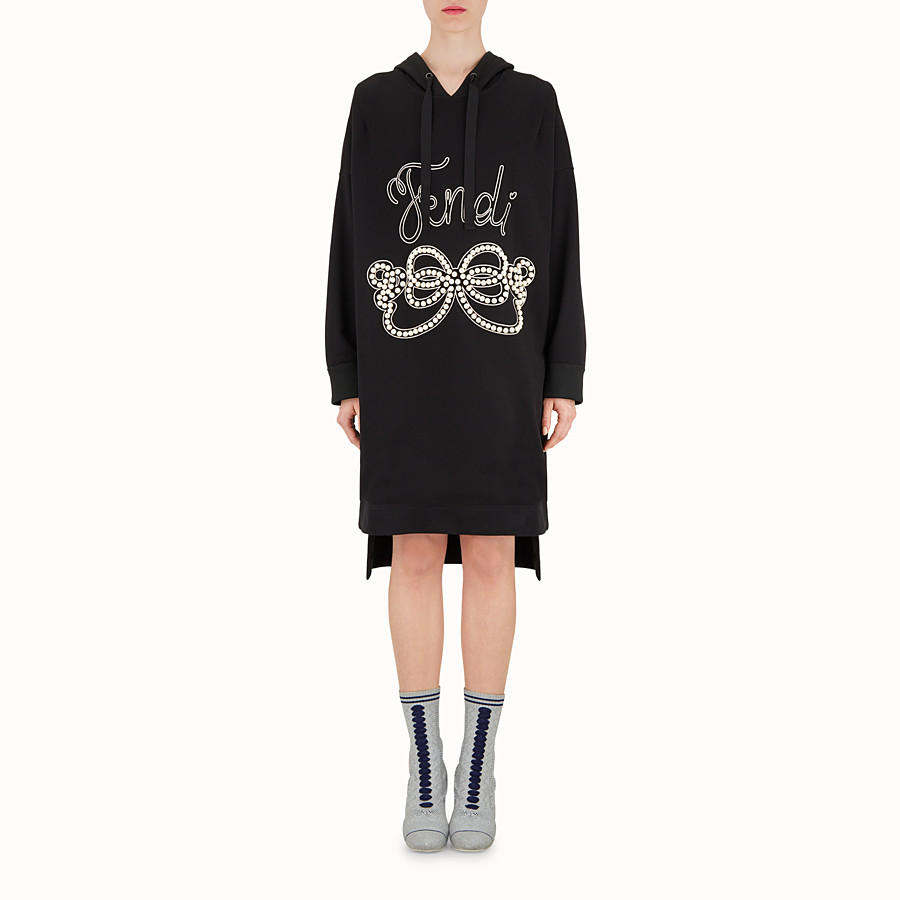 FENDI DRESS - Black cotton maxi sweatshirt - view 2 detail