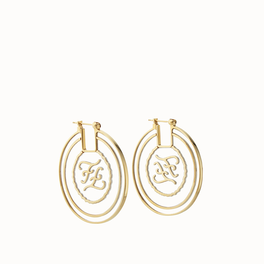 FENDI KARLIGRAPHY EARRINGS - Gold-color earrings - view 1 detail