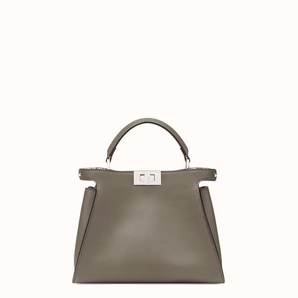 FENDI PEEKABOO ESSENTIAL - Grey leather bag with exotic details - view 1 small thumbnail