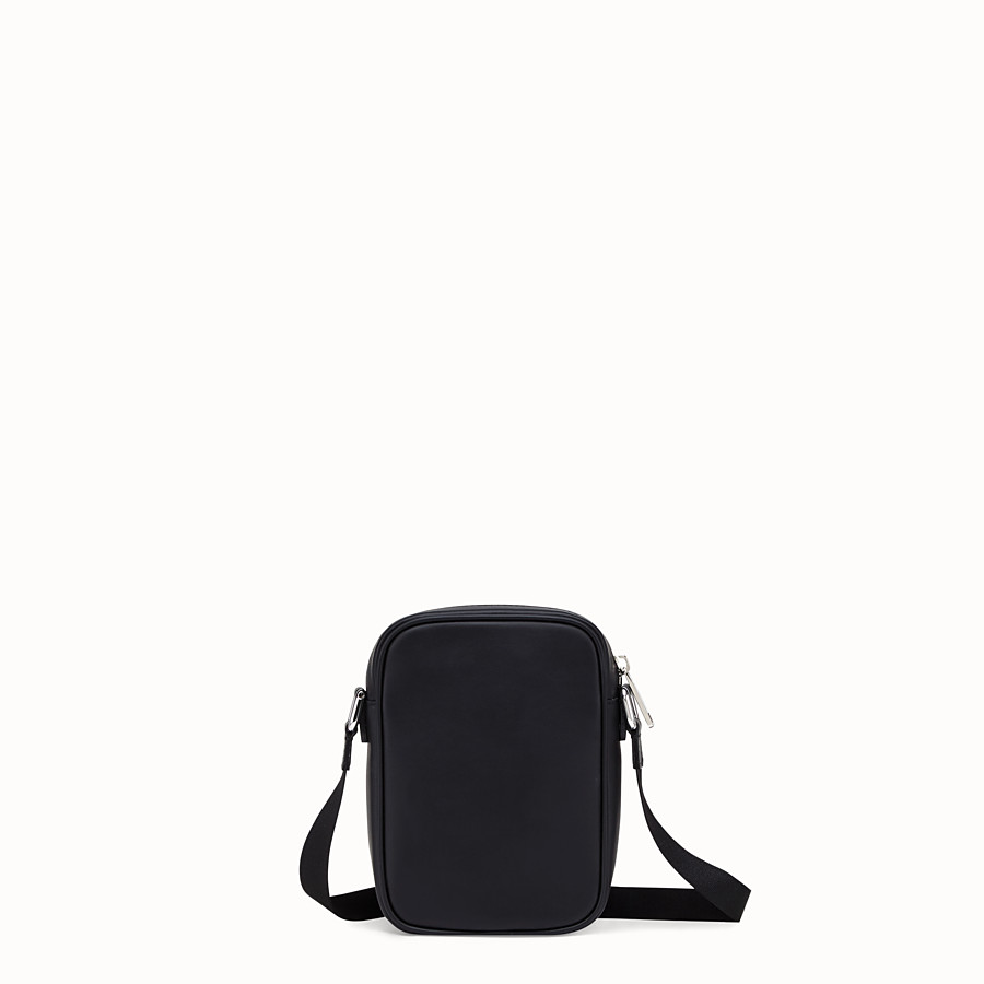 FENDI SMALL MESSENGER - Black leather cross-body bag - view 3 detail