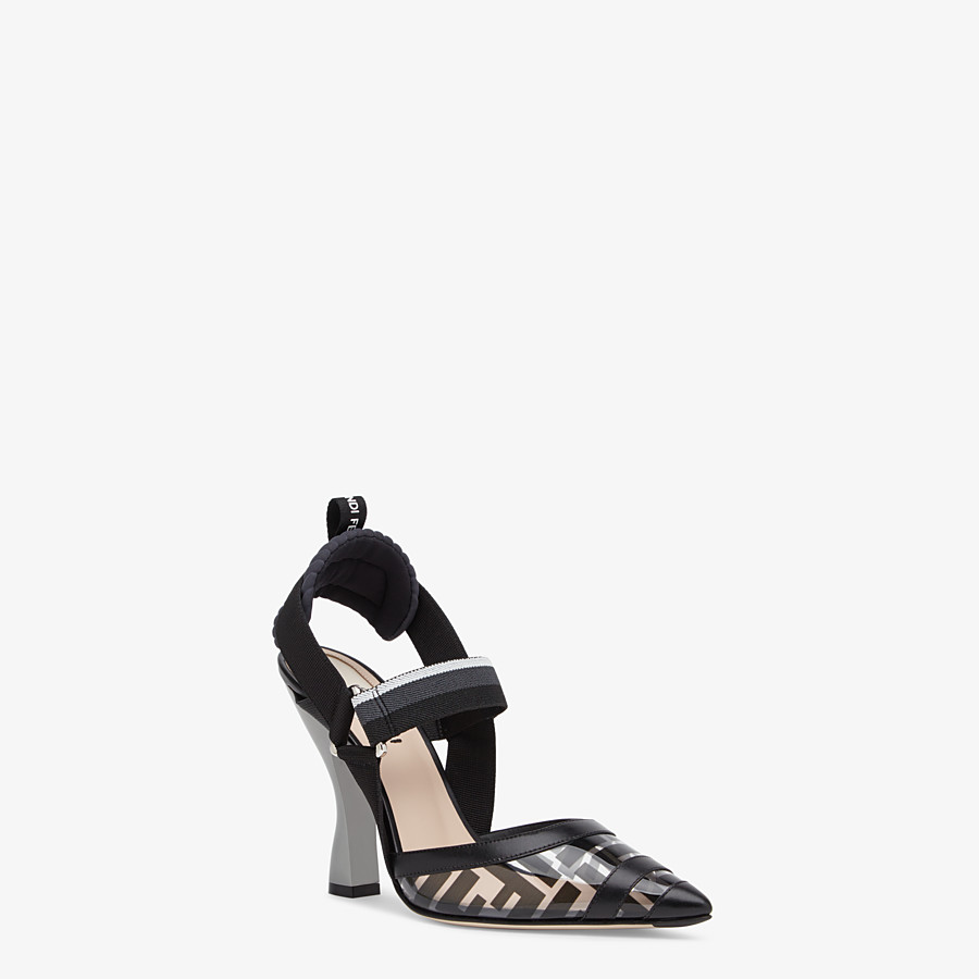 FENDI SLINGBACKS - Slingbacks in PU and black leather - view 2 detail