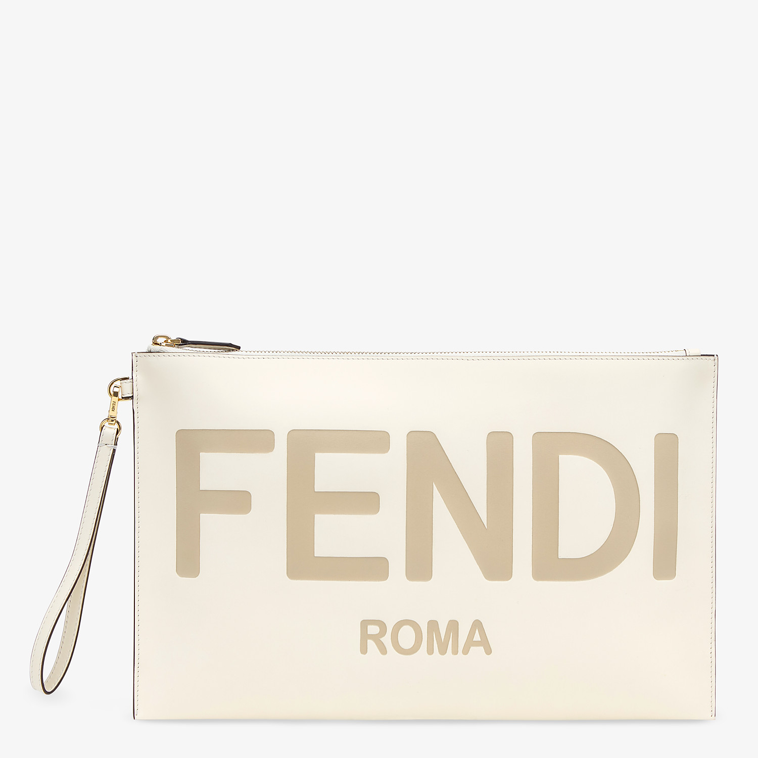 FENDI LARGE FLAT POUCH - White leather pouch - view 1 detail