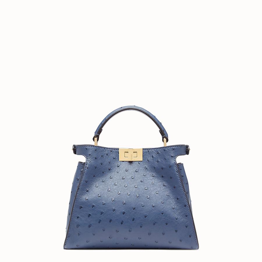FENDI PEEKABOO ICONIC ESSENTIALLY - Tasche aus Straußenleder in Blau - view 3 detail