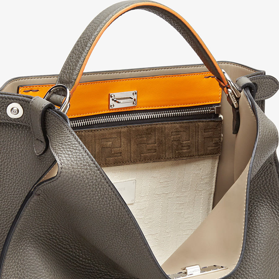FENDI PEEKABOO X-LITE FIT - Grey leather bag - view 6 detail
