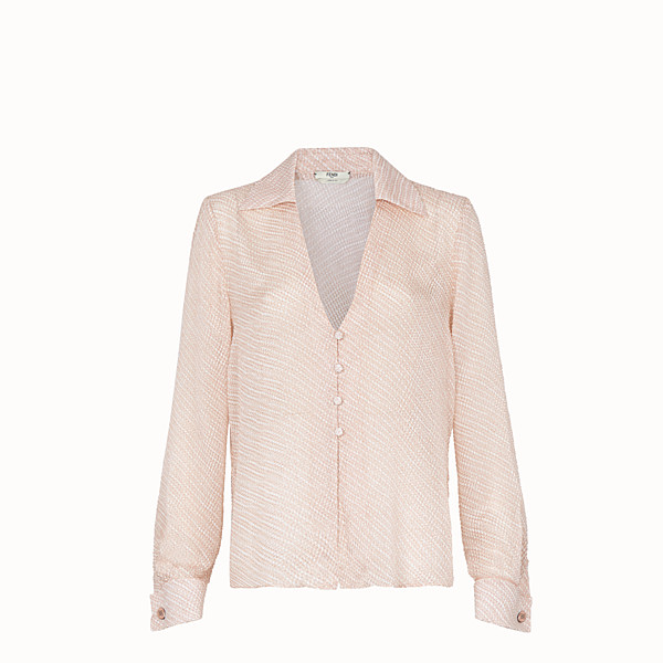 FENDI SHIRT - Pink silk cloqué blouse - view 1 small thumbnail