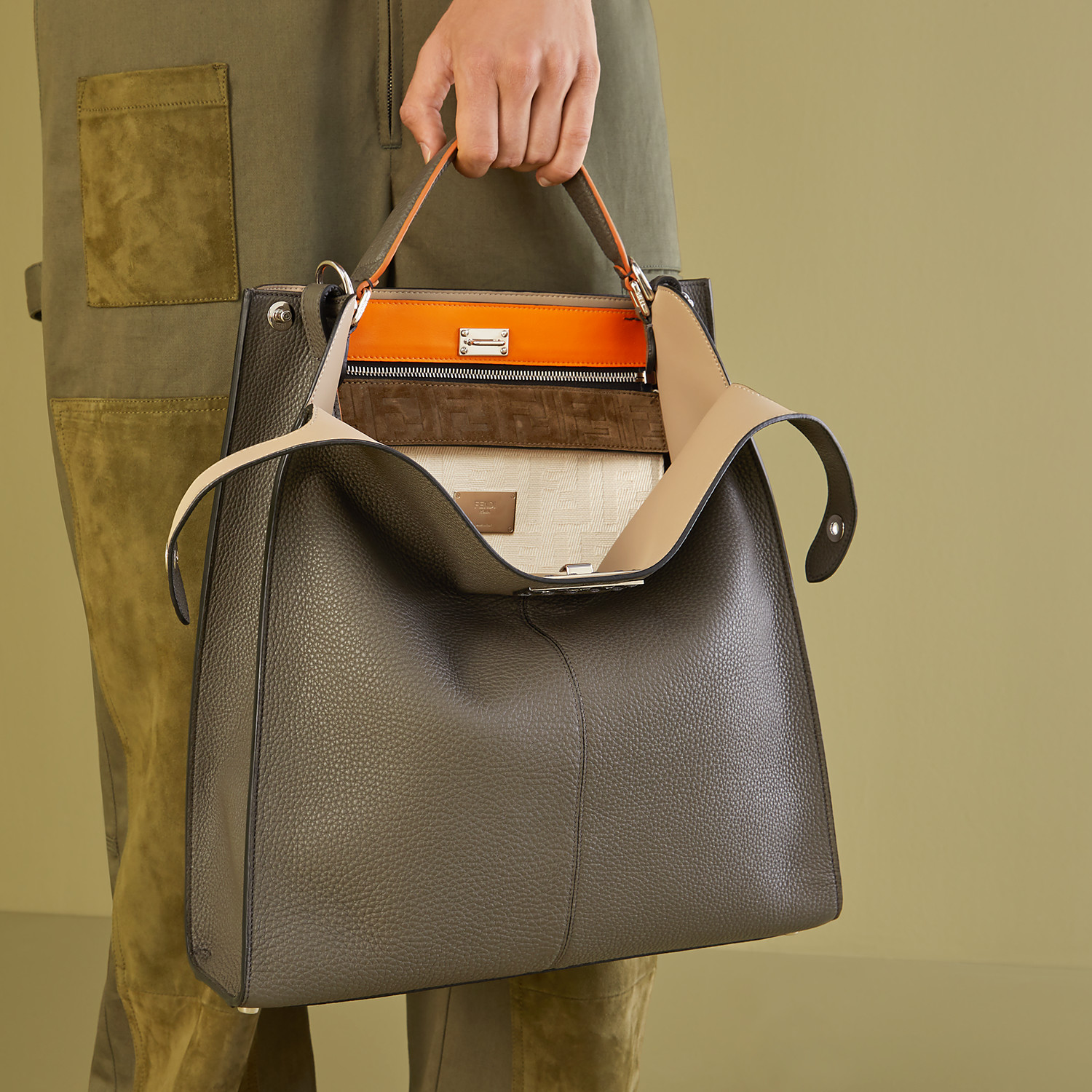 FENDI PEEKABOO X-LITE FIT - Grey leather bag - view 7 detail