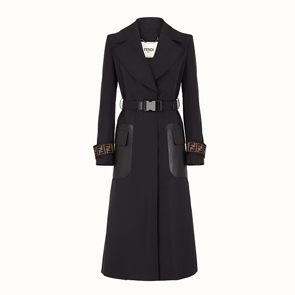 FENDI OVERCOAT - Black faille trench coat - view 1 small thumbnail
