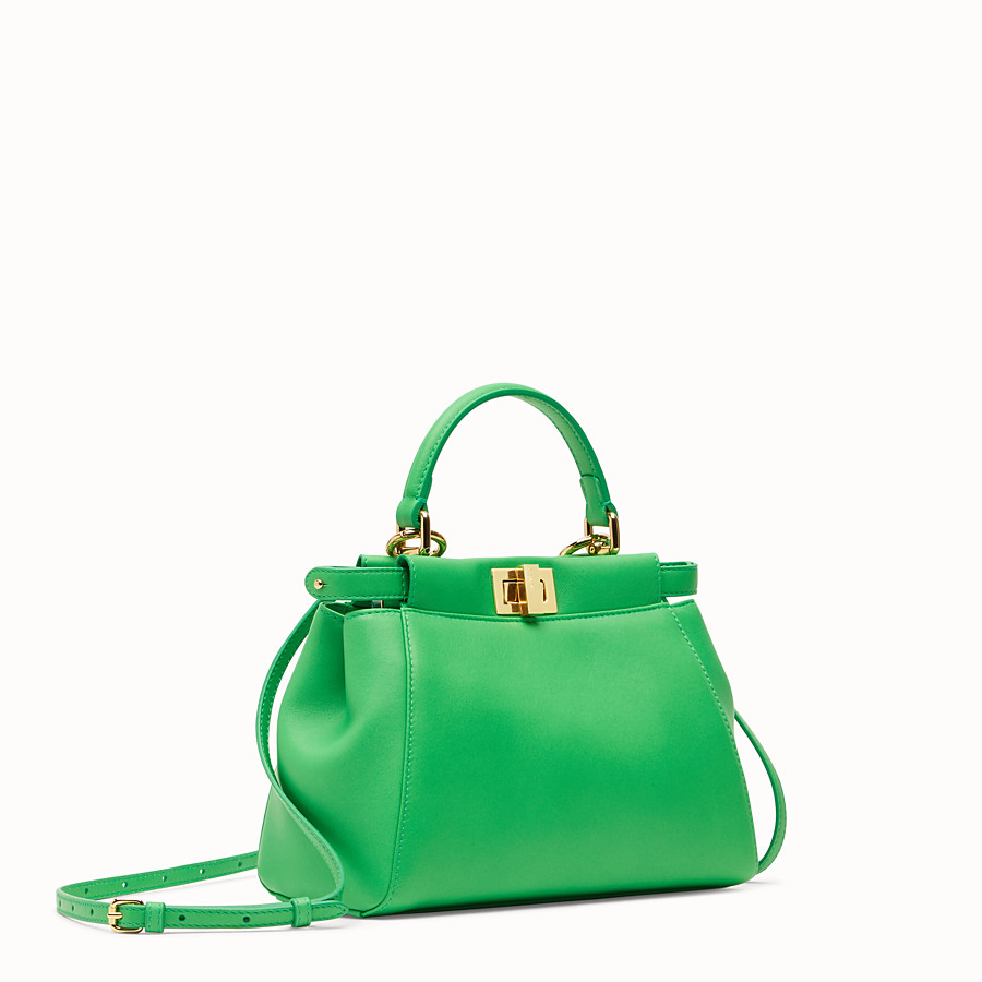 FENDI PEEKABOO ICONIC MINI - Green nappa leather bag - view 2 detail