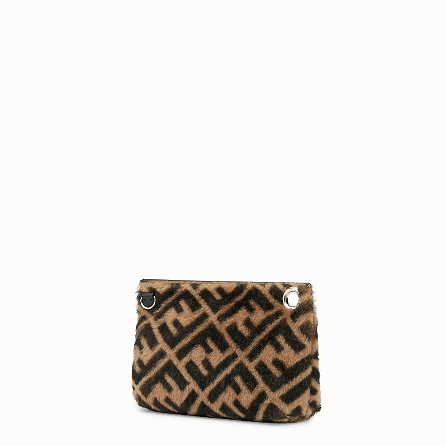 FENDI MEDIUM PYRAMID POUCH - Multicolor shearling pouch - view 2 detail