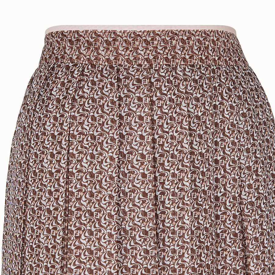 FENDI SKIRT - Skirt in pink and brown silk - view 3 detail