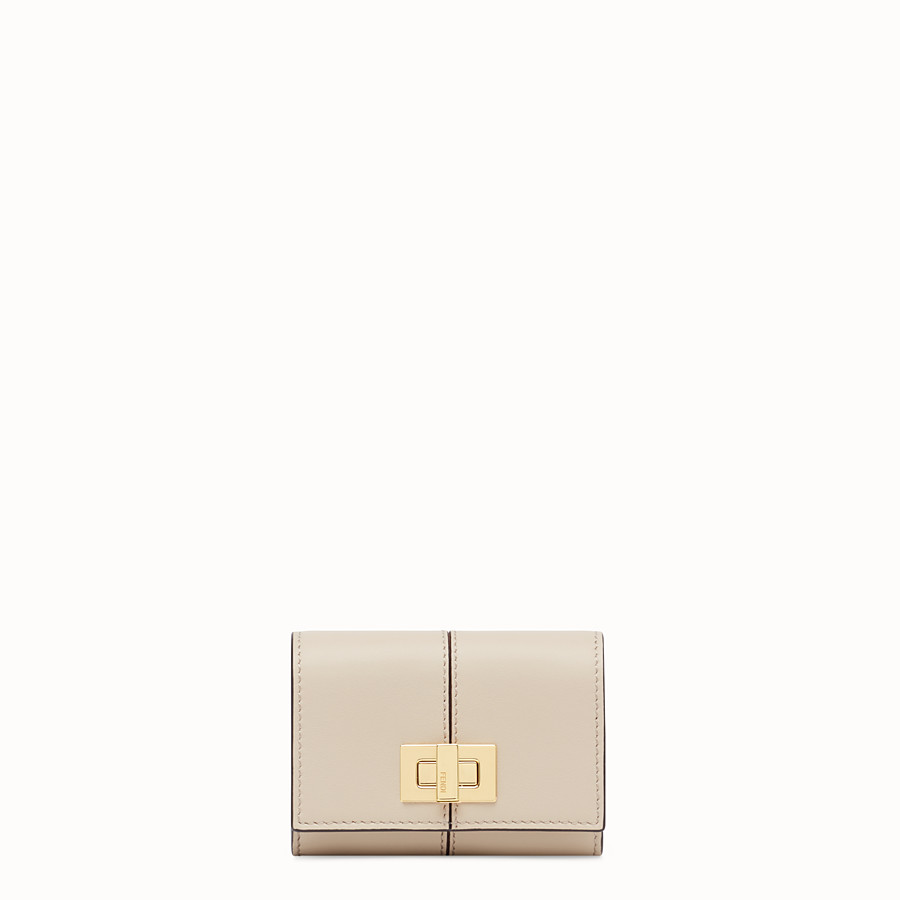 FENDI CARD HOLDER - Beige leather cardholder - view 1 detail