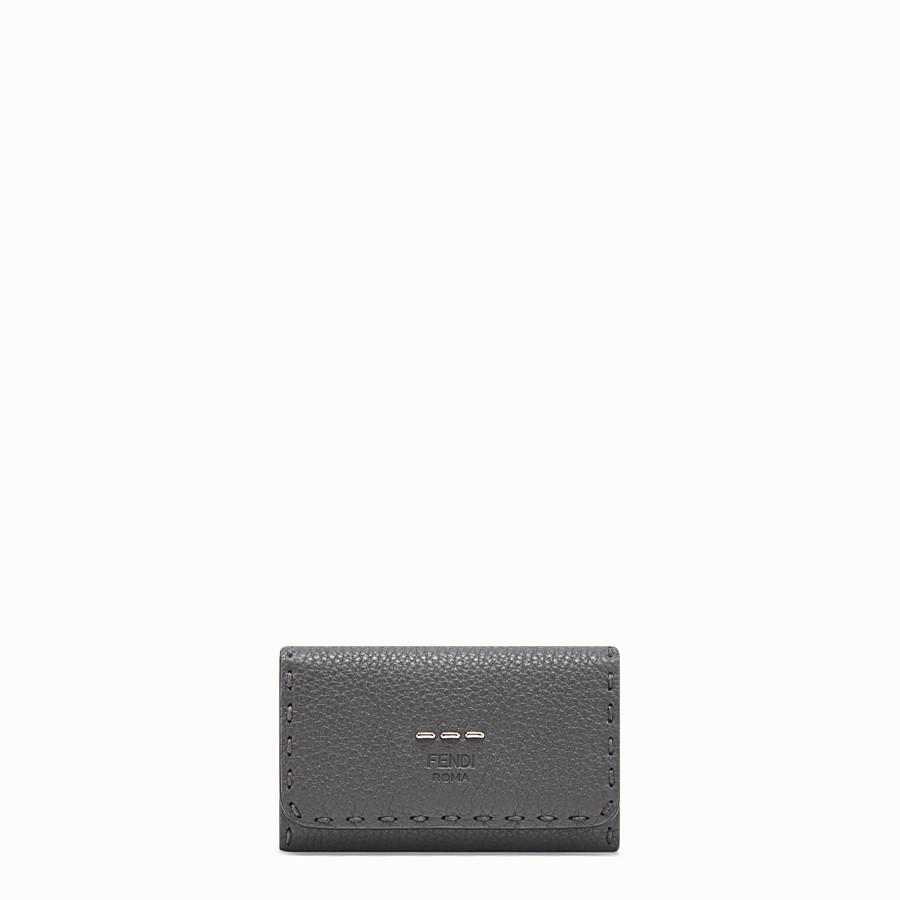 FENDI KEY RING - Grey Romano leather pouch - view 1 detail