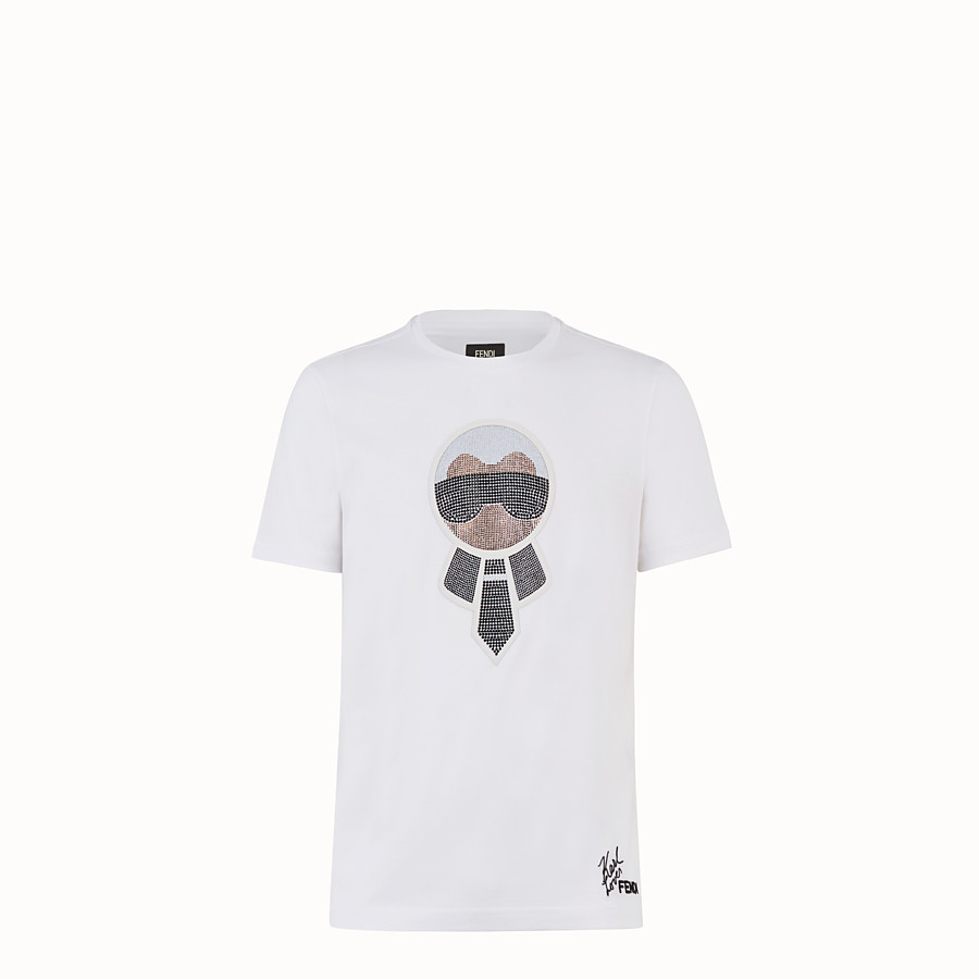 FENDI T-SHIRT - White cotton T-shirt - view 1 detail