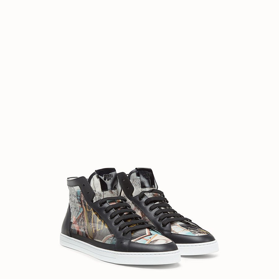 FENDI SNEAKERS - Chaussures montantes en filet multicolore - view 3 detail