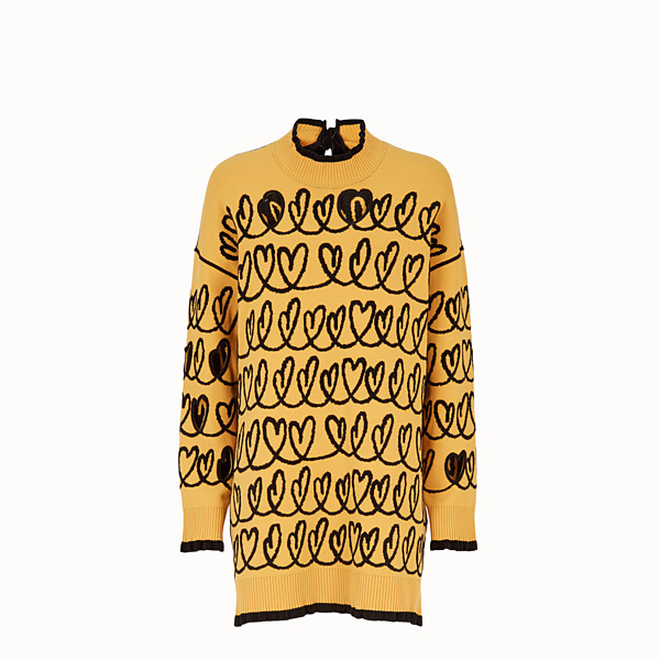 FENDI DRESS - Yellow wool maxi pullover - view 1 small thumbnail