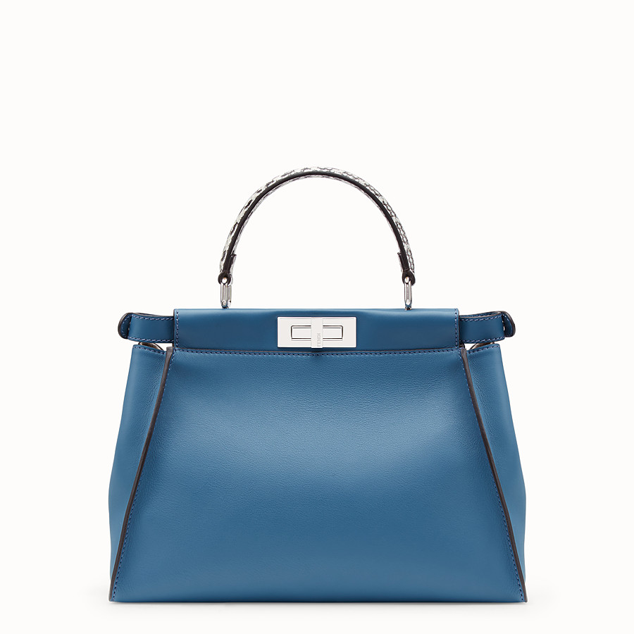 FENDI PEEKABOO REGULAR - Pale blue leather bag with exotic details - view 3 detail