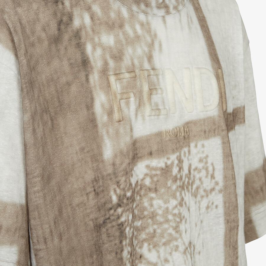 FENDI T-SHIRT - White linen T-shirt - view 3 detail