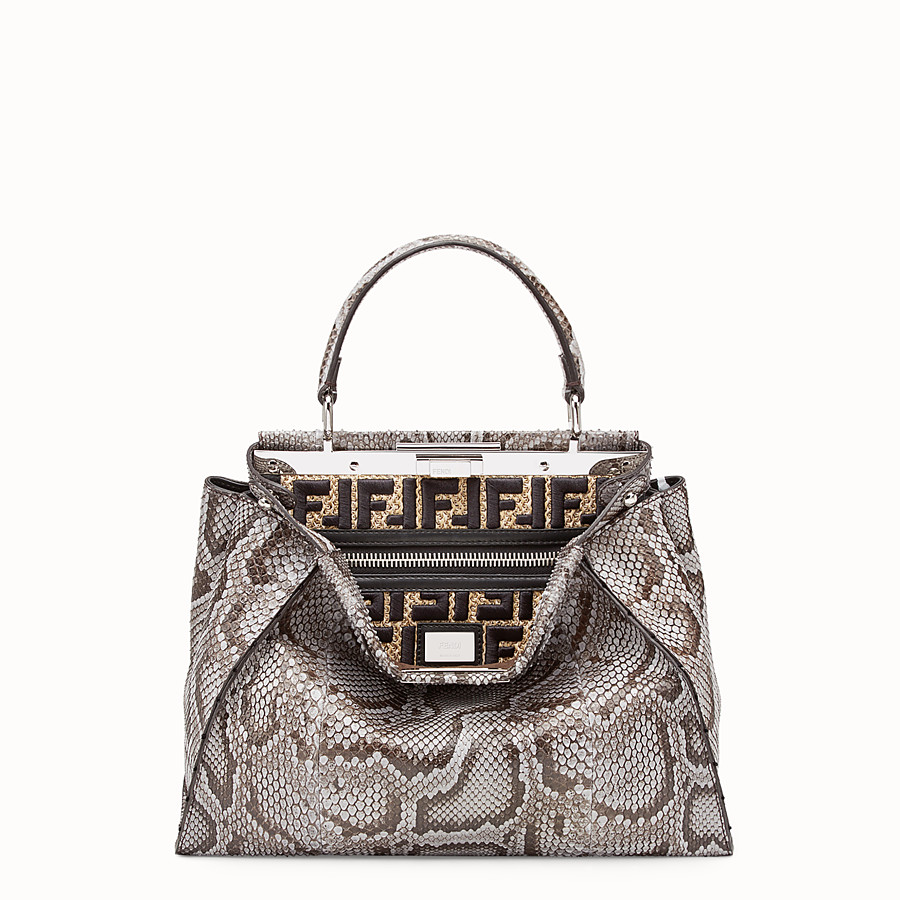 FENDI PEEKABOO REGULAR - Grey python bag - view 1 detail
