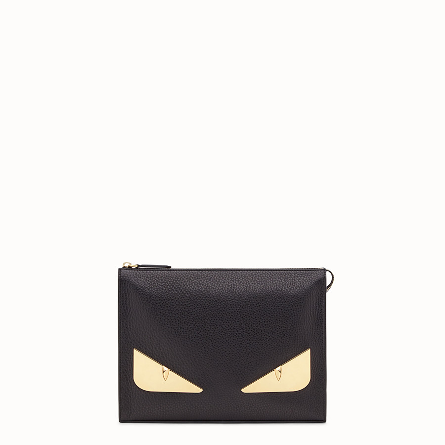 FENDI CLUTCH - Black Romano leather pochette - view 1 detail