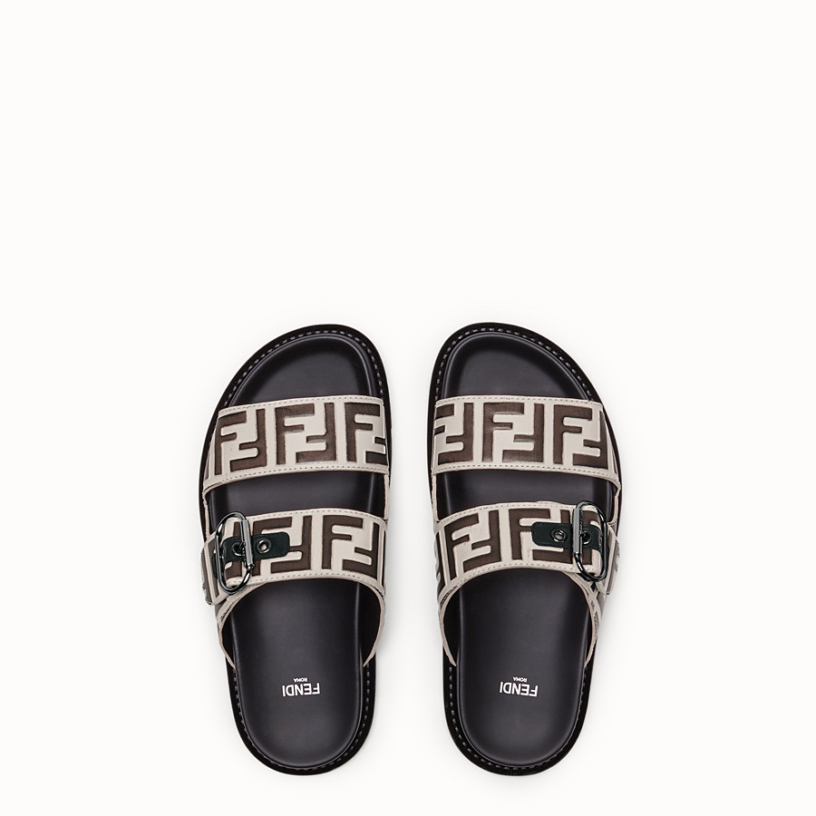 FENDI SLIDES - White leather slides - view 4 detail