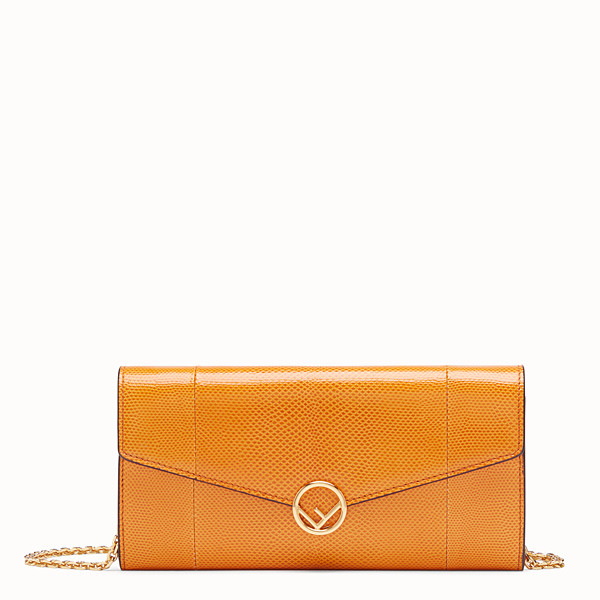 FENDI CONTINENTAL WITH CHAIN - Orange karung wallet - view 1 small thumbnail