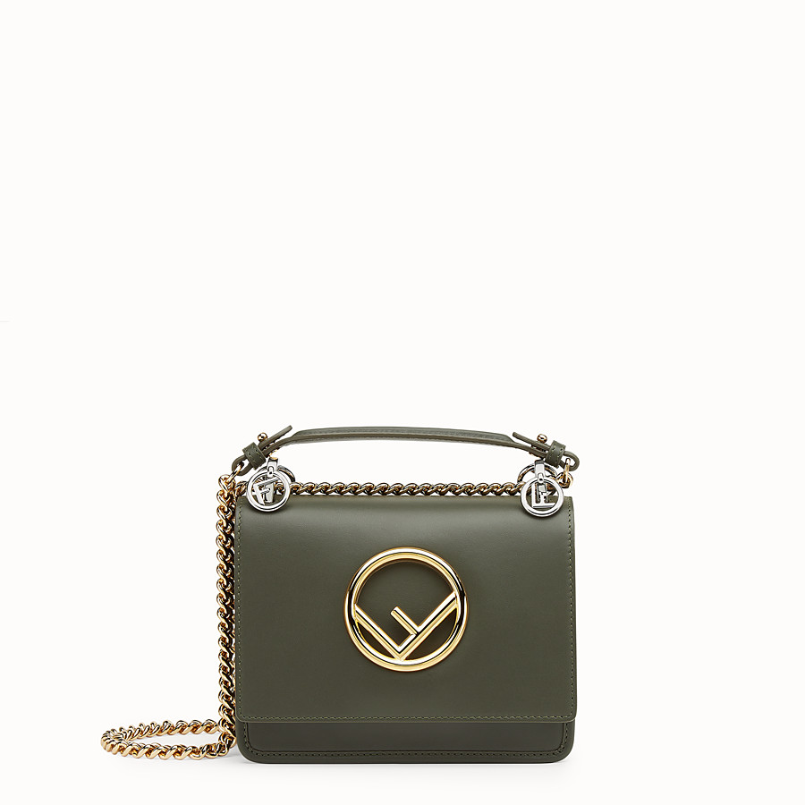 FENDI KAN I F SMALL - Green leather mini-bag with exotic details - view 1 detail