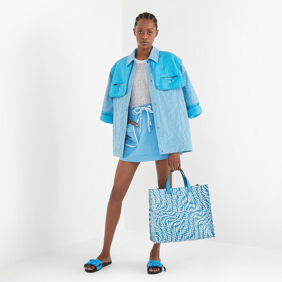 FENDI SHOPPER - Blue glazed canvas bag - view 2 detail
