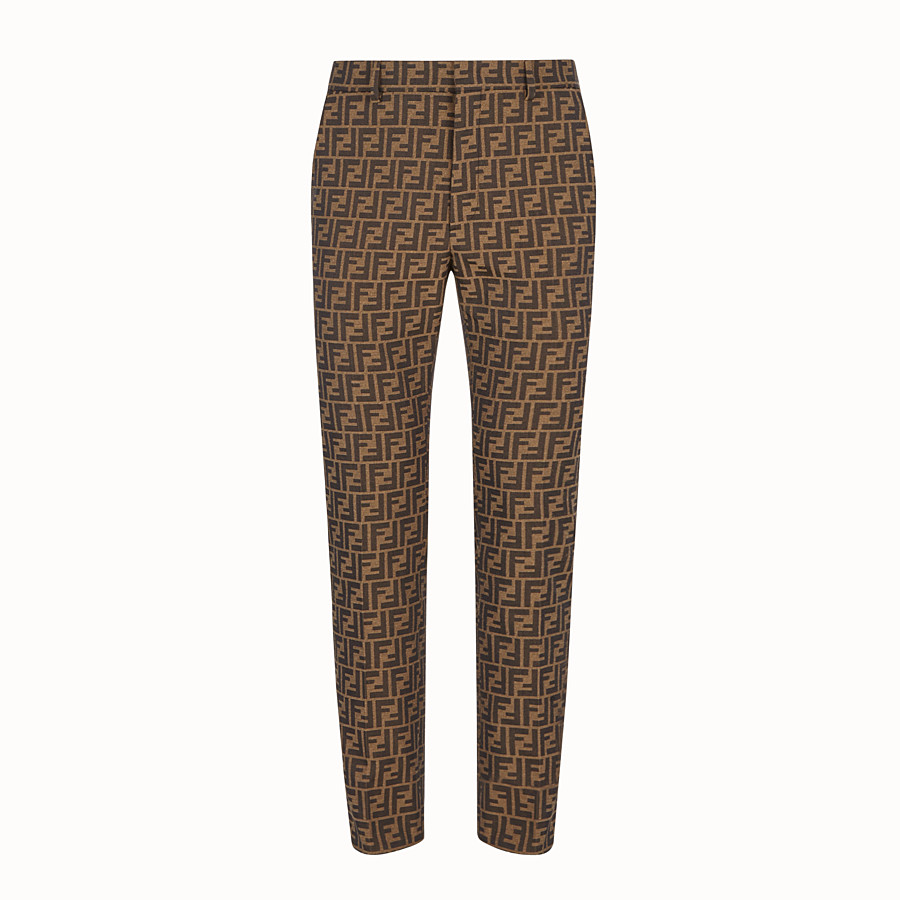 FENDI TROUSERS - Brown fabric trousers - view 1 detail