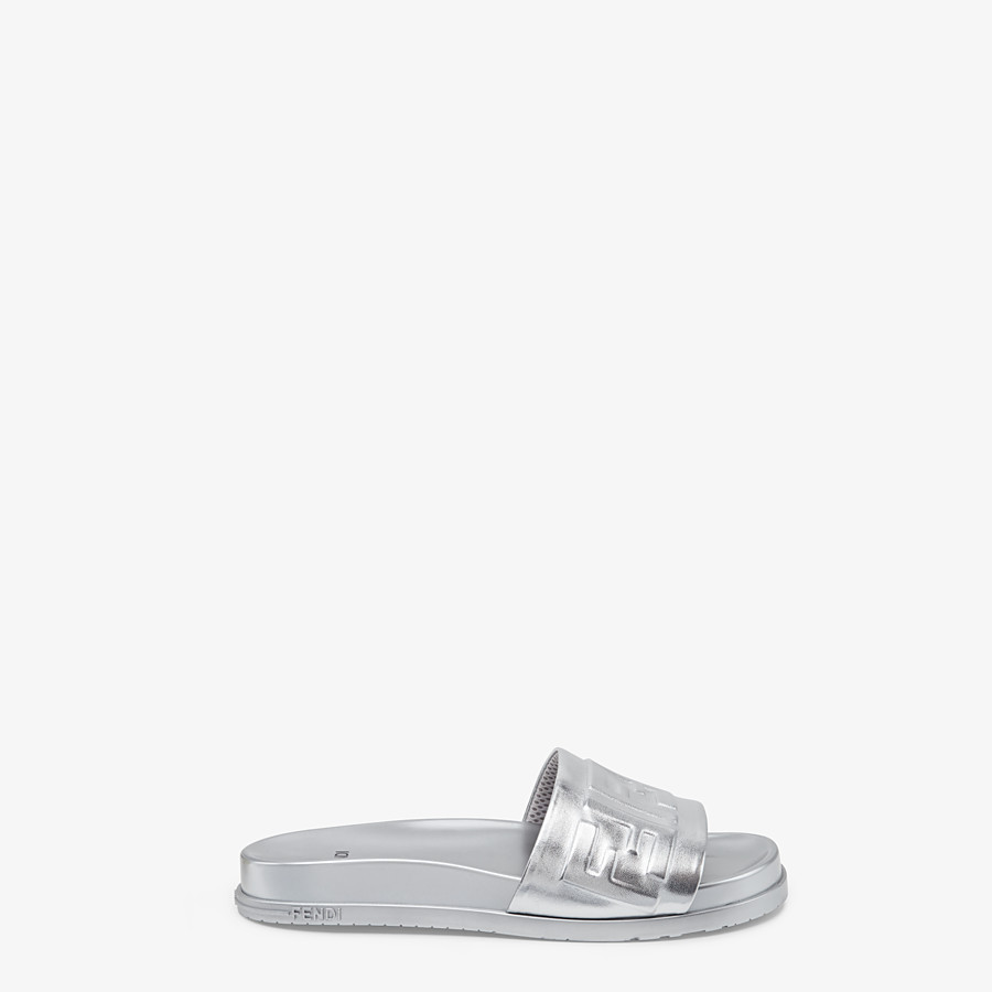 FENDI SANDALS - Silver nappa leather slides - view 1 detail
