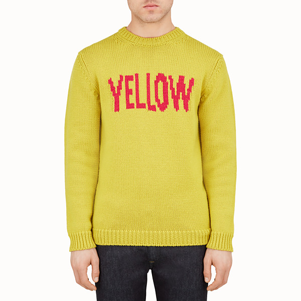 FENDI PULLOVER - Knitted yellow and red round-neck pullover - view 1 small thumbnail