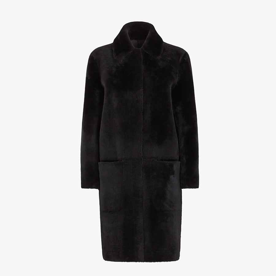 FENDI COAT - Black shearling coat - view 1 detail