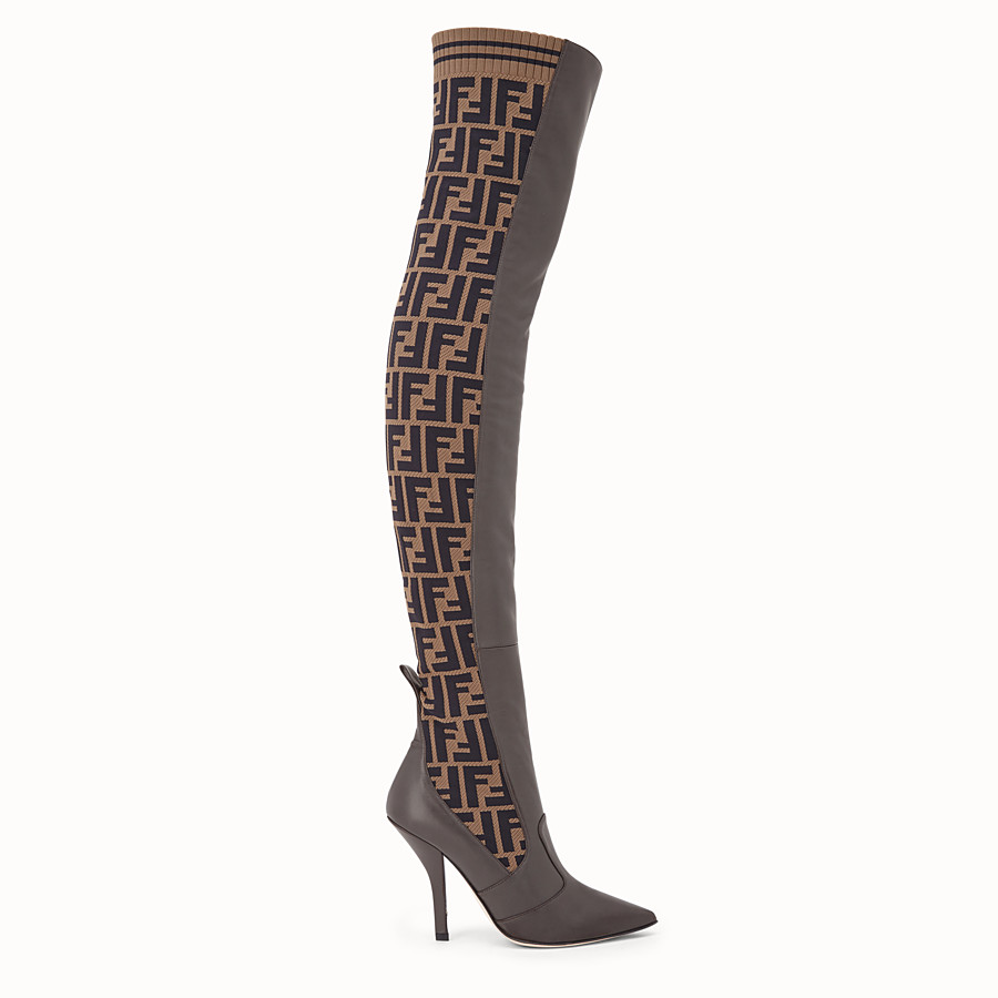 Brown leather thigh-high boots - BOOTS | Fendi