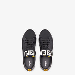 FENDI SNEAKERS - Black mesh and leather low-tops - view 4 thumbnail