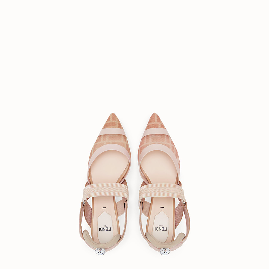 FENDI SLINGBACK - Colibrì in pink mesh and nude leather - view 4 detail