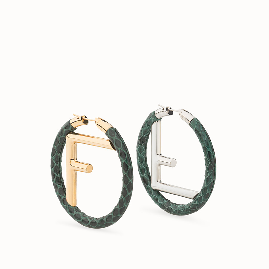 FENDI F IS FENDI EARRINGS - Green elaphe earrings - view 1 detail