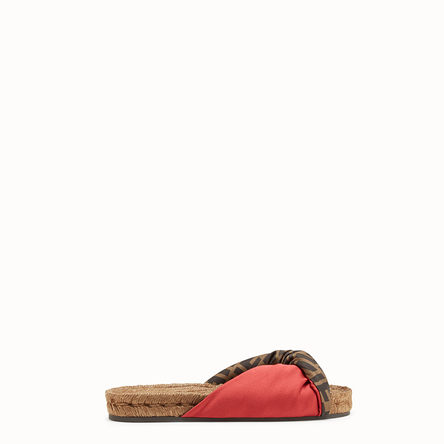 FENDI SANDALS - Red satin slides - view 1 detail