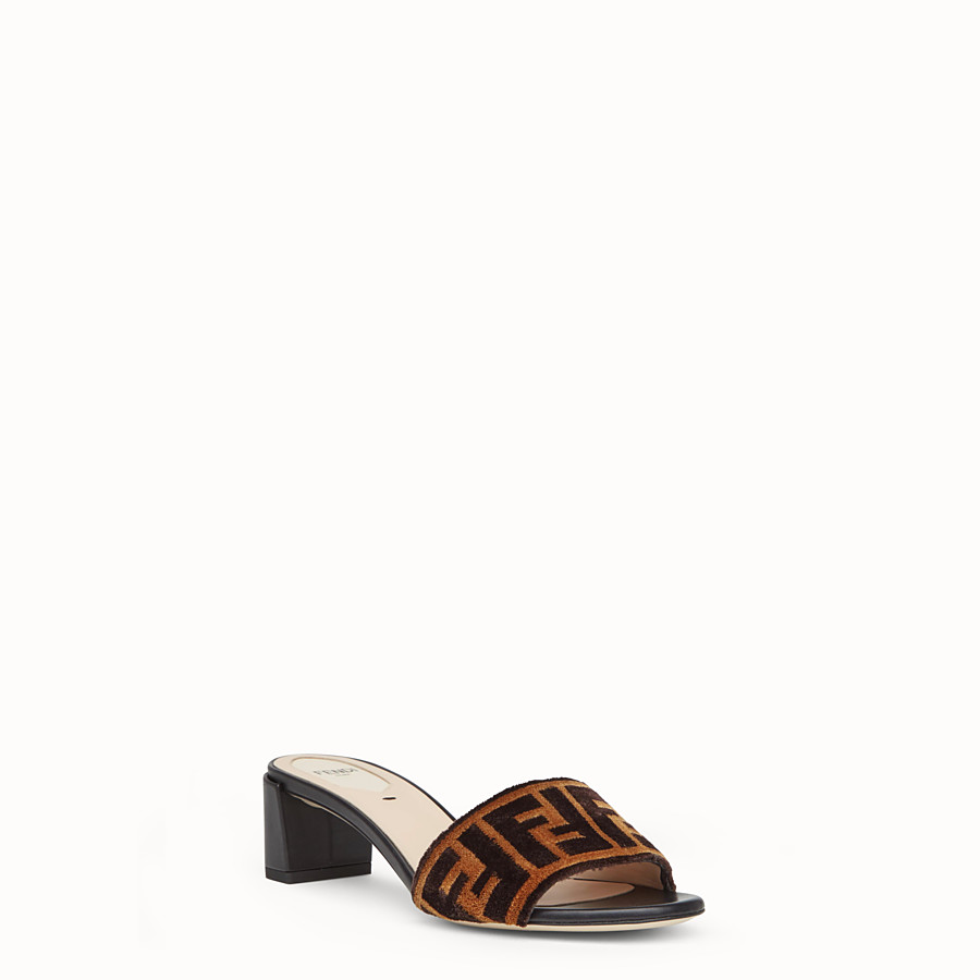 FENDI SLIDES - Multicolour leather and fabric sandals - view 2 detail