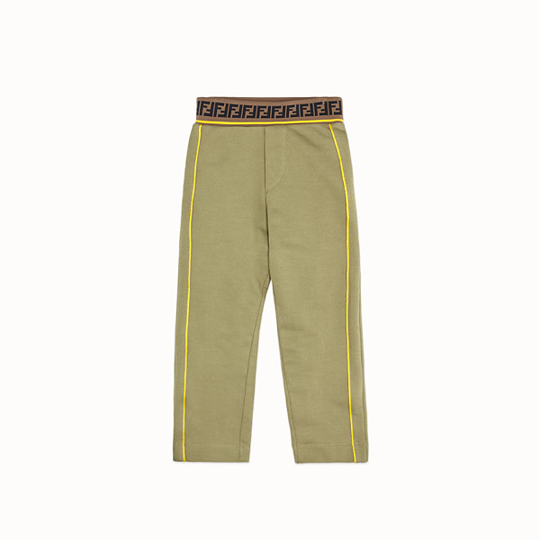 FENDI TROUSERS - Khaki fleece trousers - view 1 small thumbnail
