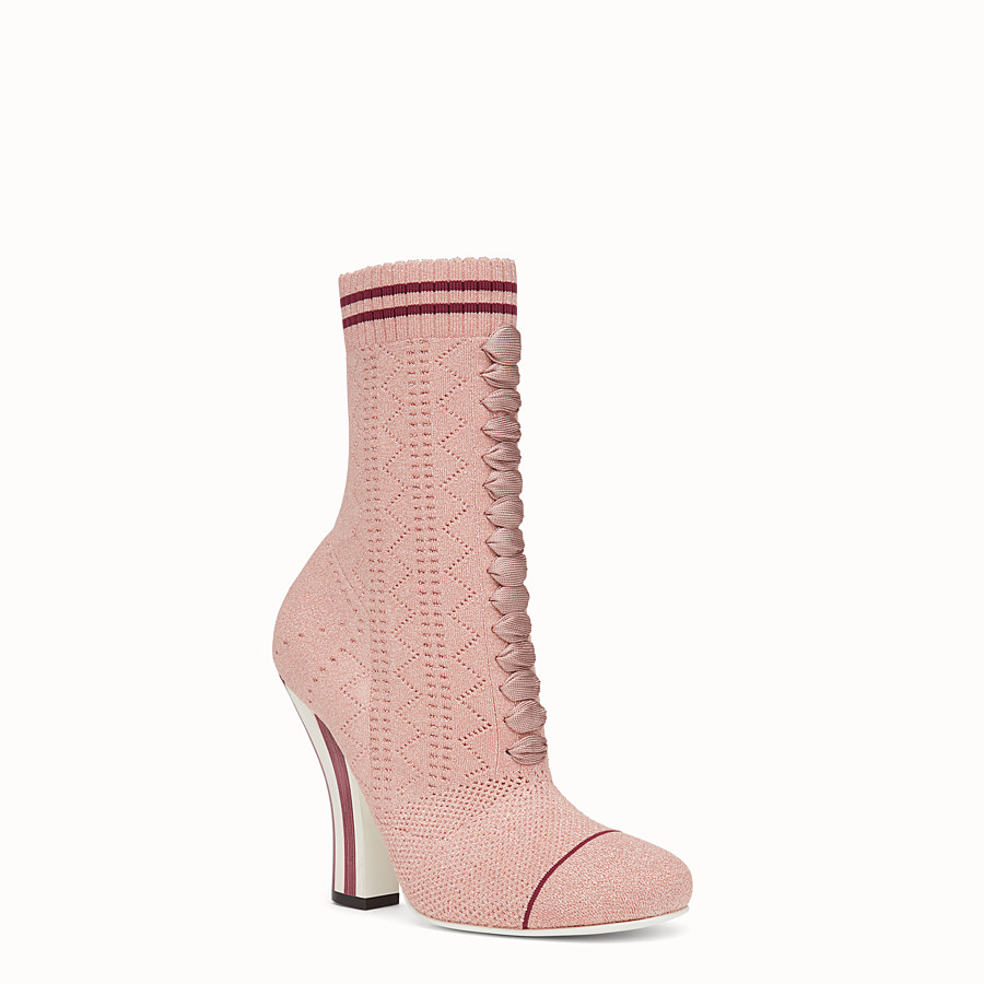 FENDI BOOTS - Pink fabric boots - view 2 detail