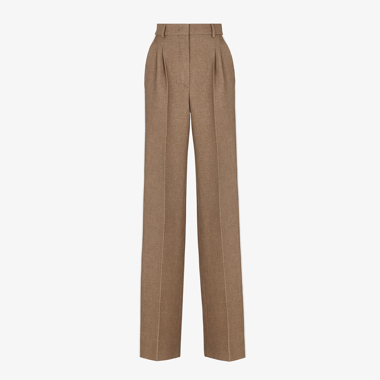 FENDI PANTS - Beige silk and wool pants - view 1 detail
