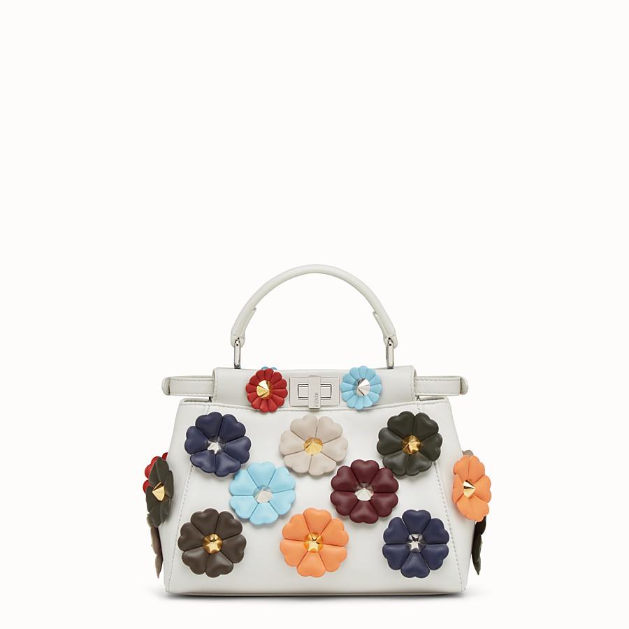 FENDI MINI PEEKABOO - White leather handbag with flowers - view 3 detail